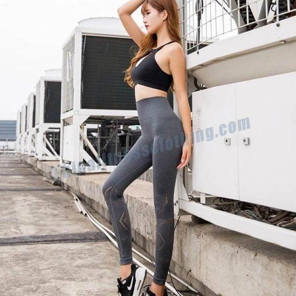 11 - Grey Mesh Leggings - Custom Fitness Apparel Manufacturer