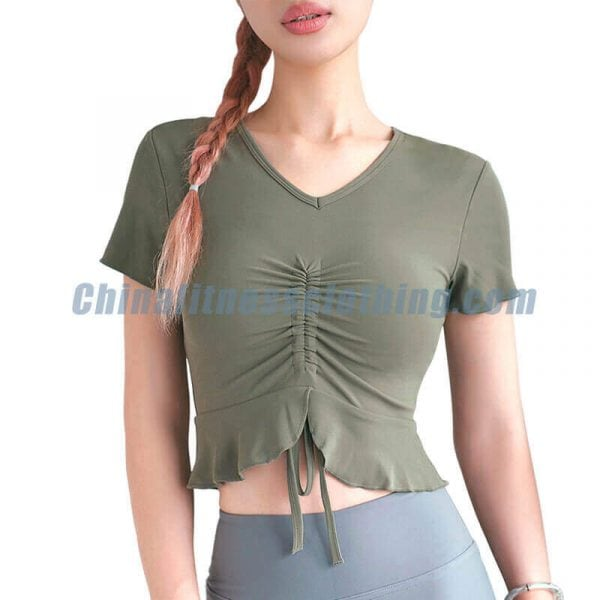 Army green short sleeve yoga tops wholesale - Short Sleeve Yoga Tops Wholesale - Custom Fitness Apparel Manufacturer