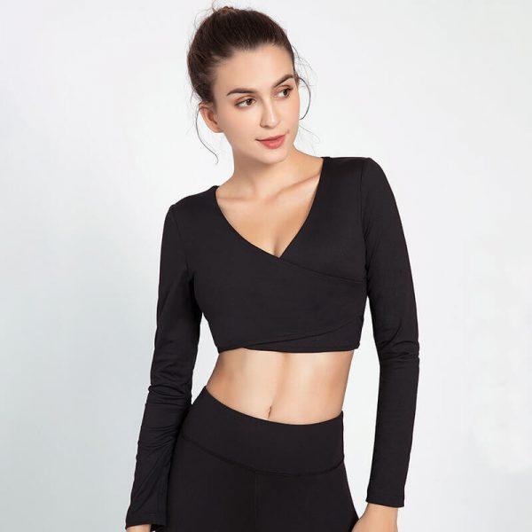 Black-long-sleeve-v-neck-crop-top