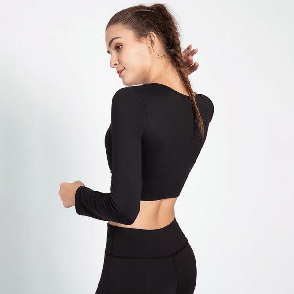 Black long sleeve v neck crop top manufacturers - Black Long Sleeve V Neck Crop Top - Custom Fitness Apparel Manufacturer