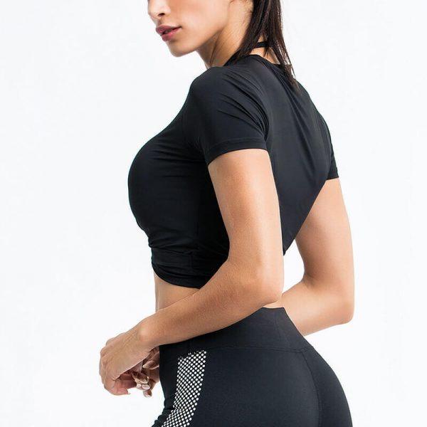 Black short sleeve crop top manufacturers - Black Short Sleeve Crop Top - Custom Fitness Apparel Manufacturer