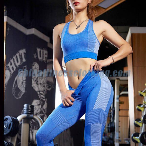 Blue padded push up sports bra manufacturer - Padded Push Up Sports Bra - Custom Fitness Apparel Manufacturer