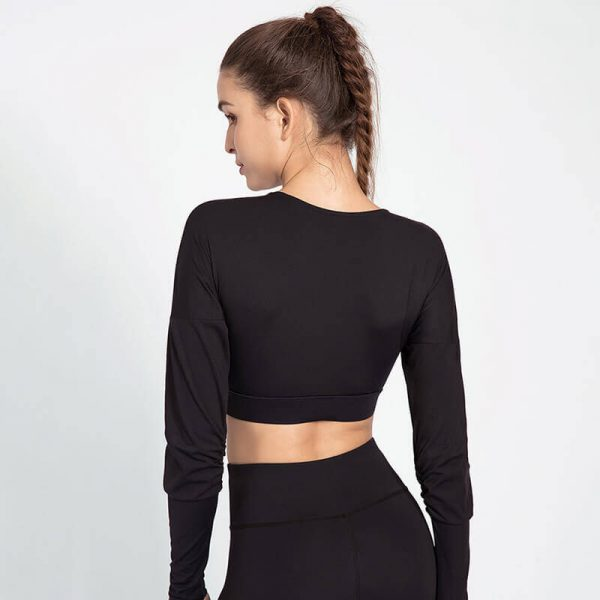 Custom black and white long sleeve crop top wholesale - Black and White Long Sleeve Crop Top - Custom Fitness Apparel Manufacturer