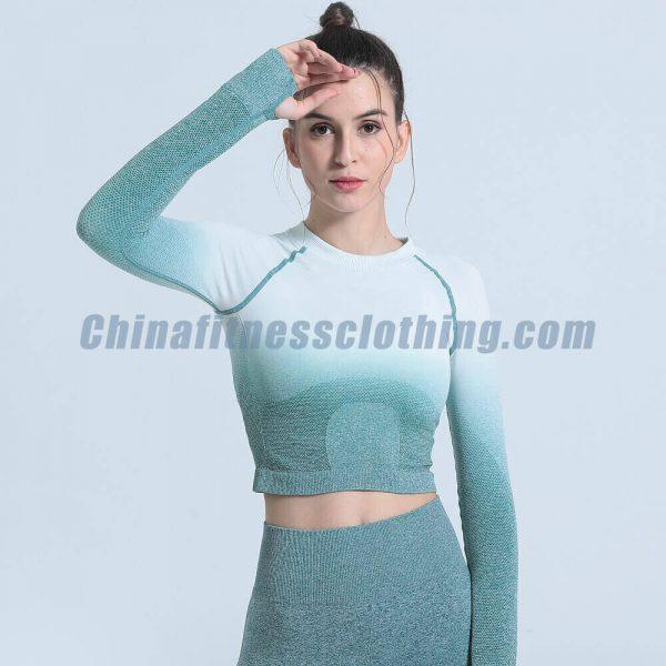 Custom blue ombre seamless long sleeve crop tops wholesale - Ombre Seamless Long Sleeve Crop Tops Wholesale - Custom Fitness Apparel Manufacturer