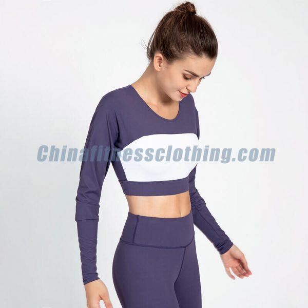 Custom navy blue long sleeve crop top manufacturers - Navy Blue Long Sleeve Crop Top - Custom Fitness Apparel Manufacturer