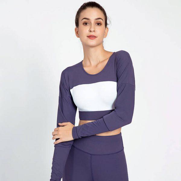 Custom navy blue long sleeve crop top wholesale - Navy Blue Long Sleeve Crop Top - Custom Fitness Apparel Manufacturer