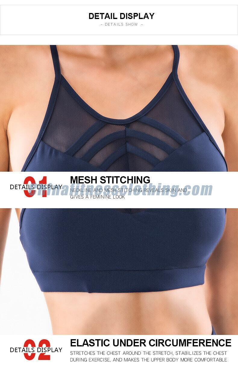 Custom navy blue thin strap workout bra details 1 - Navy Blue Thin Strap Workout Bra Wholesale - Custom Fitness Apparel Manufacturer