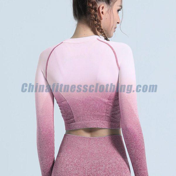 Custom pink ombre seamless long sleeve crop tops wholesale - Ombre Seamless Long Sleeve Crop Tops Wholesale - Custom Fitness Apparel Manufacturer