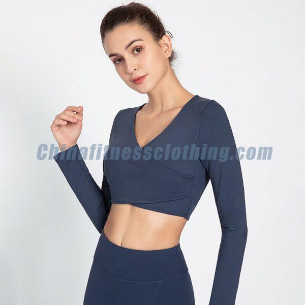 Custom plus size long sleeve crop top - Plus Size Long Sleeve Crop Top Wholesale - Custom Fitness Apparel Manufacturer