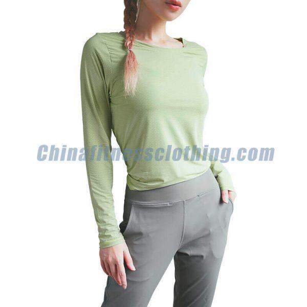 Custom-womens-green-long-sleeve-t-shirt-wholesale