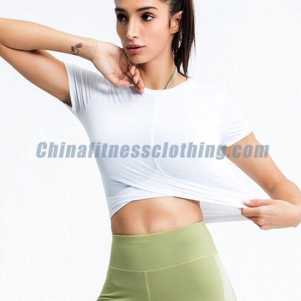 Custom womens white t shirt crop top - Womens White T Shirt Crop Top Wholesale - Custom Fitness Apparel Manufacturer