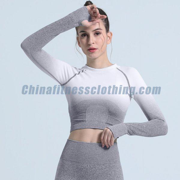 Grey ombre seamless long sleeve crop tops wholesale - Ombre Seamless Long Sleeve Crop Tops Wholesale - Custom Fitness Apparel Manufacturer