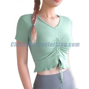 Light green short sleeve yoga tops wholesale - Womens Leggings Wholesale - Custom Fitness Apparel Manufacturer