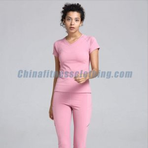Light pink womens fitted v neck t shirts wholesale - Womens Leggings Wholesale - Custom Fitness Apparel Manufacturer