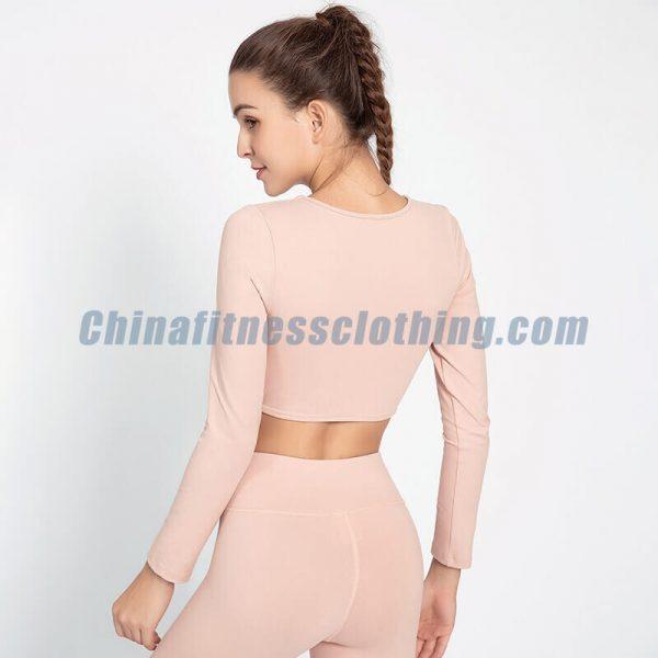 Long sleeve light pink crop tops wholesale - Light Pink Crop Tops Wholesale - Custom Fitness Apparel Manufacturer