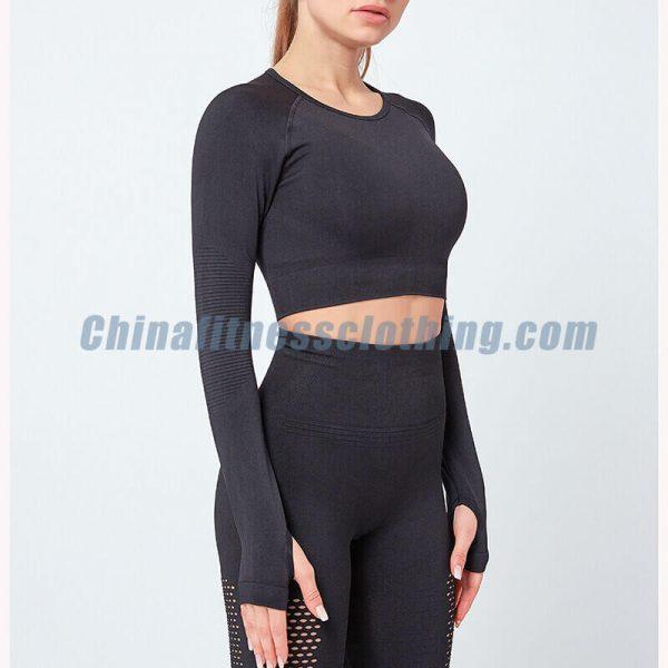 Long sleeve turtleneck black crop tops wholesale - Black Long Sleeve Turtleneck Crop Top - Custom Fitness Apparel Manufacturer