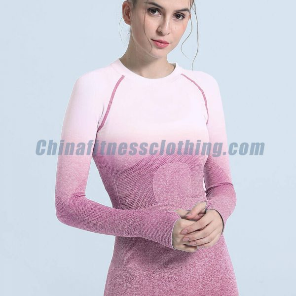 Ombre seamless long sleeve crop tops wholesale - Ombre Seamless Long Sleeve Crop Tops Wholesale - Custom Fitness Apparel Manufacturer