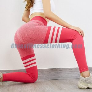 Pink striped seamless workout leggings wholesale - Womens Leggings Wholesale - Custom Fitness Apparel Manufacturer