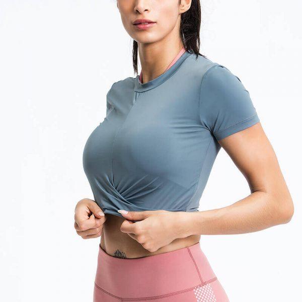 Round neck crop top wholesale 1 - Round Neck Crop Top T Shirt - Custom Fitness Apparel Manufacturer