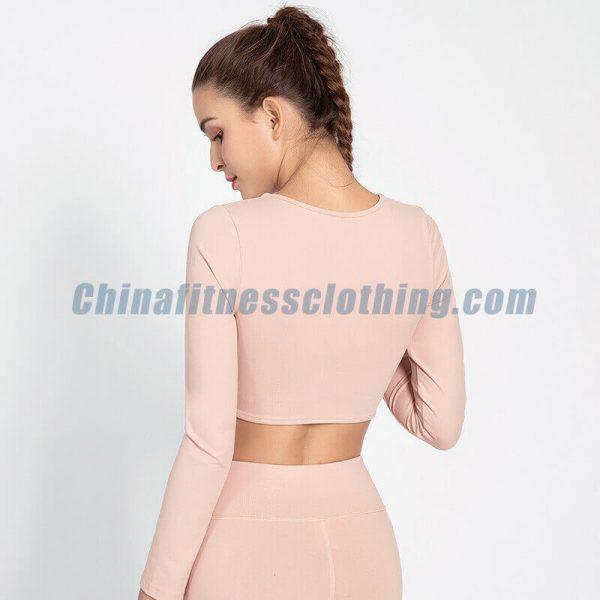 V neck light pink crop tops wholesale - Light Pink Crop Tops Wholesale - Custom Fitness Apparel Manufacturer