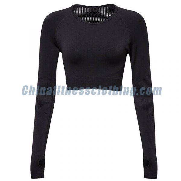Wholesale black long sleeve turtleneck crop tops - Black Long Sleeve Turtleneck Crop Top - Custom Fitness Apparel Manufacturer