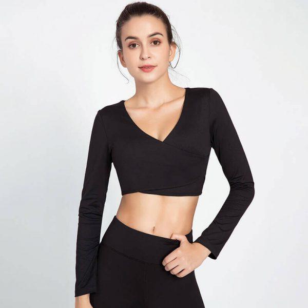 Wholesale black long sleeve v neck crop top - Black Long Sleeve V Neck Crop Top - Custom Fitness Apparel Manufacturer
