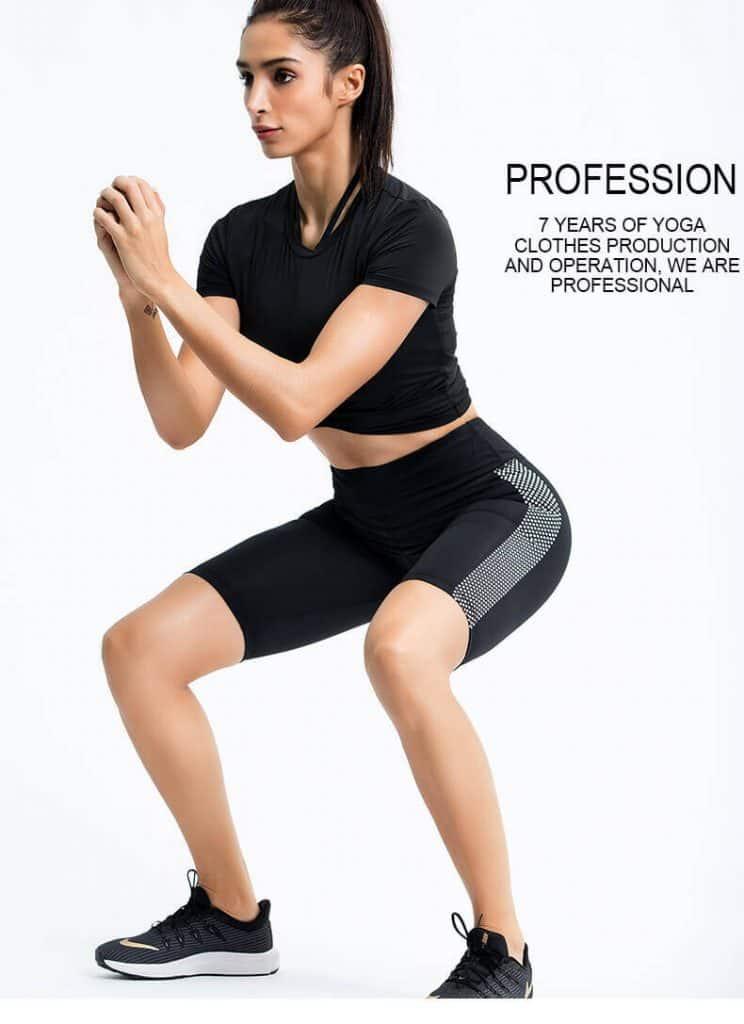 Wholesale black short sleeve crop top manufacturers - Black Short Sleeve Crop Top - Custom Fitness Apparel Manufacturer