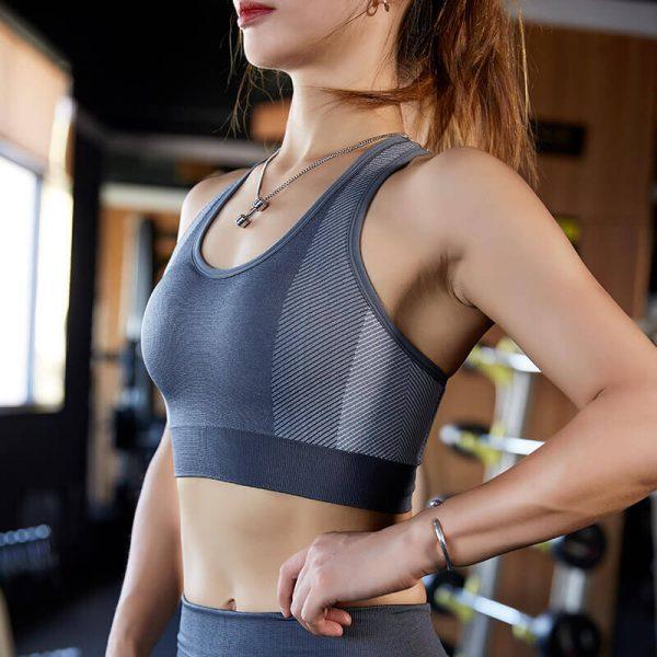 Wholesale grey padded push up sports bra - Padded Push Up Sports Bra - Custom Fitness Apparel Manufacturer