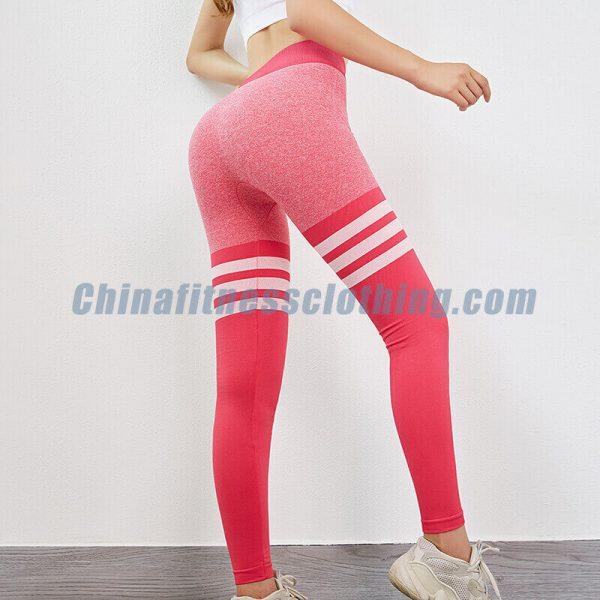 Wholesale pink striped leggings supplier - Pink Striped Leggings Wholesale - Custom Fitness Apparel Manufacturer