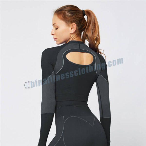 black long sleeve crop tops wholesale - Long Sleeve Crop Tops Wholesale - Custom Fitness Apparel Manufacturer