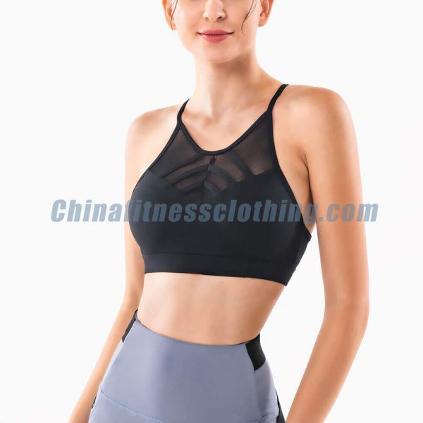 black thin strap sports bras wholesale 1 - Black Thin Strap Sports Bra Wholesale - Custom Fitness Apparel Manufacturer