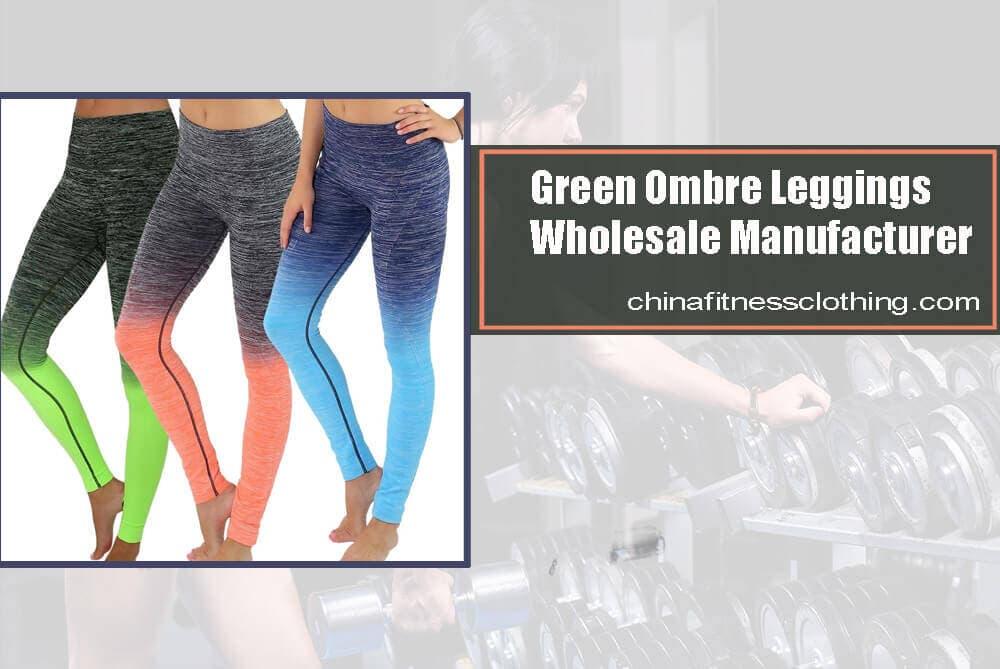 green ombre leggings wholesale 1 - Green Ombre Leggings - Custom Fitness Apparel Manufacturer